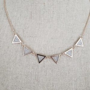 🆕Gold silver glitter triangle necklace